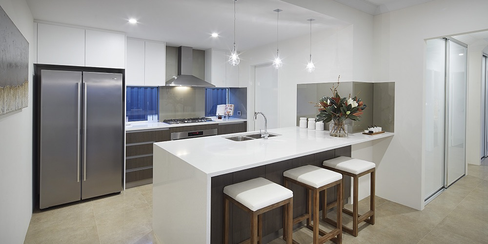 B1 Homes_ The Nelson Display Home - gourmet kitchen with walk in pantry and family breakfast bar