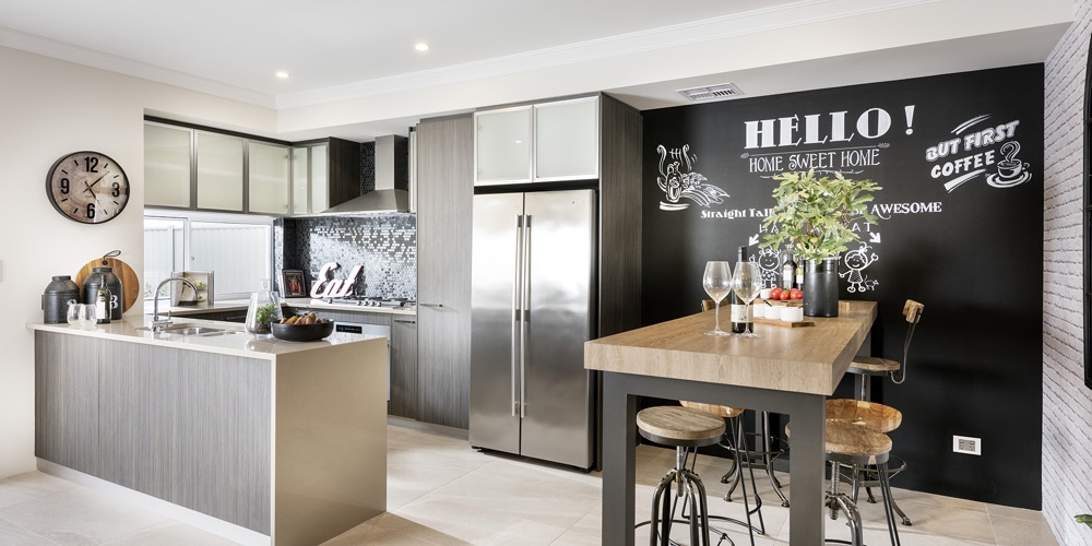 B1 Homes_The Dvina Display Home - gourmet kitchen and seperate dining area