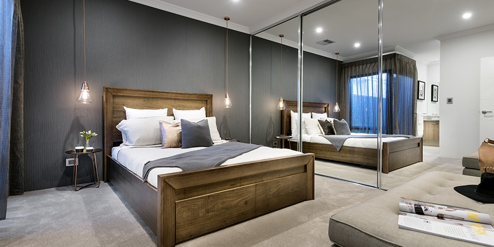 B1 Homes_The Jordan Display Home - Master bedroom with spacious ensuite and large built in mirrored robes