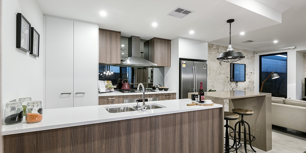 B1 Homes_The Jordan Display Home - open plan kitchen with seperate breakfast bar
