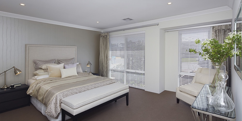 B1 Homes_The Meuse Display Home - private master bedroom with ensuite and dressing room