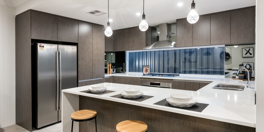 B1 Homes_The Nile Display Home - compact gourmet kitchen with family breakfast bar