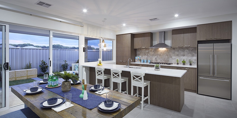 B1 Homes_The Purus Display Home - family dining and gourmet kitchen that flows onto alfresco area