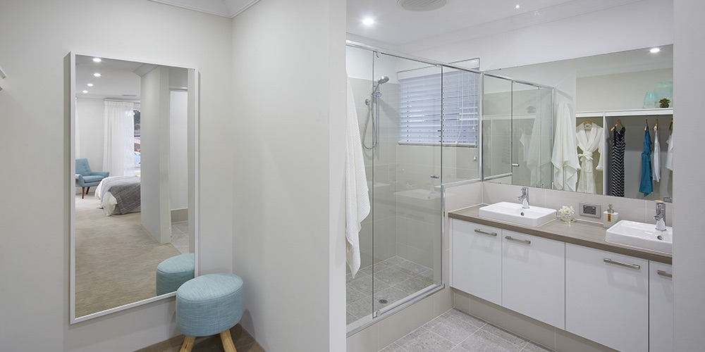 B1 Homes_The Purus Display Home - master bedroom ensuite with double wal-in-robes